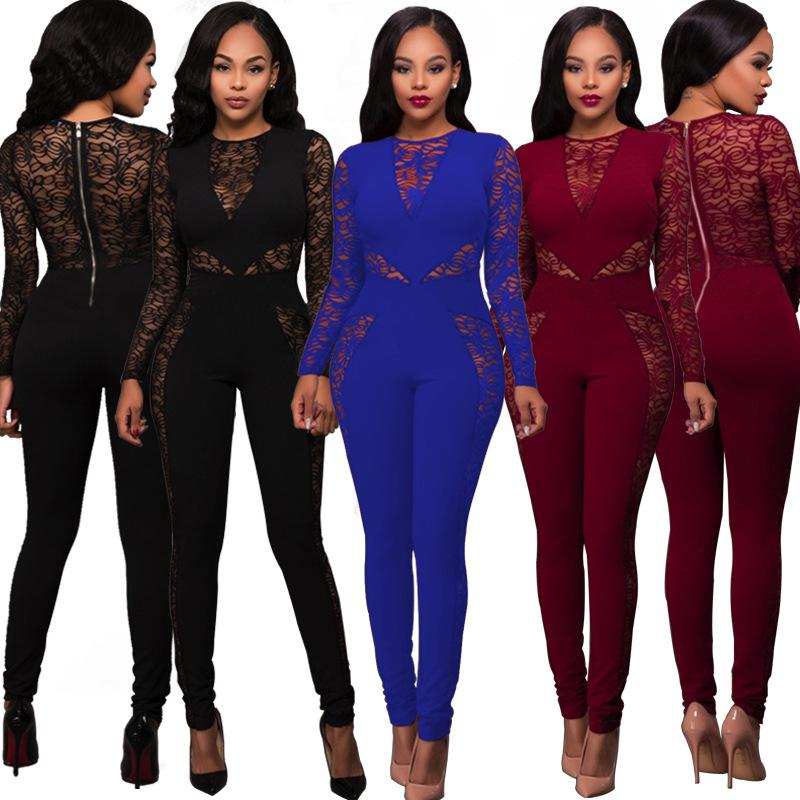 2a257b6df645 Free Ship Women Sexy Lace Sheer Jumpsuit Romper High Waist Bodycon Long  Playsuit Club Wear Women Jumpsuit Sexy Jumpsuit Women Outfits Online with  ...