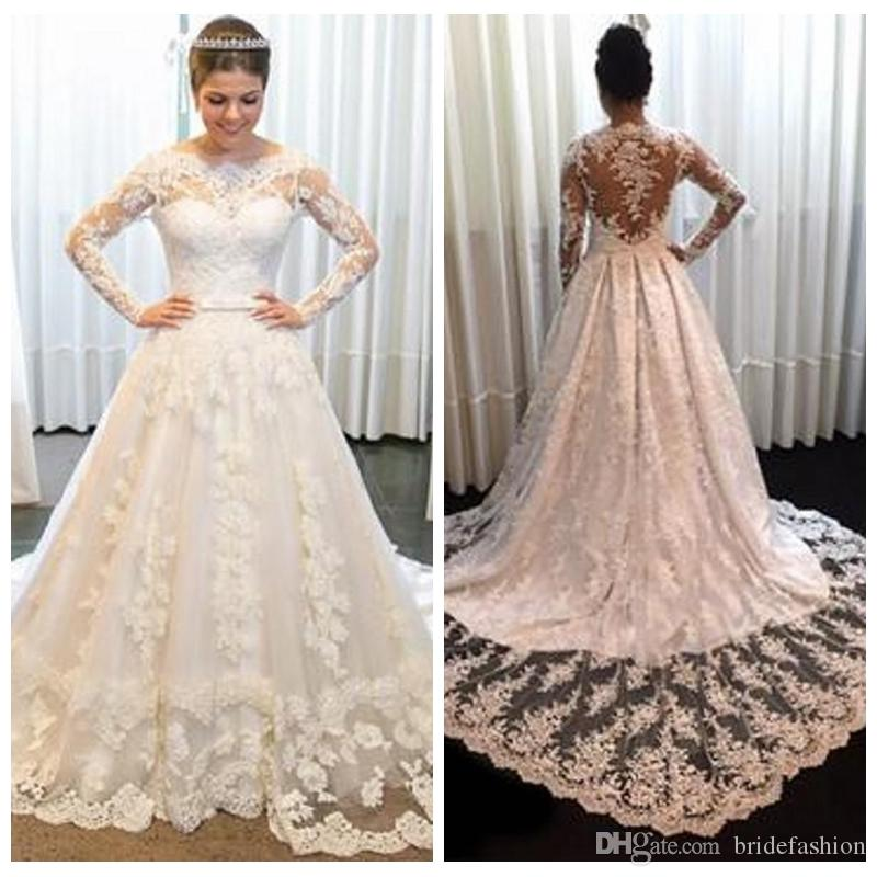 6515d9a2859c7 Discount Noble Wedding Dresses Temperament Vintage Long Sleeves Lace  Princess Bridal Gowns Mopping Long Section Wedding Gowns Robe De Mariee Wedding  Gown ...