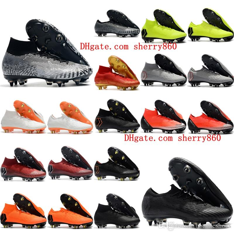 e2d488fb742 2019 2018 Mens Soccer Cleats Mercurial Superfly VI Elite SG AC Football  Boots Cr7 Neymar Soccer Shoes Chuteiras High Ankle Botas De Futbol Black  From ...