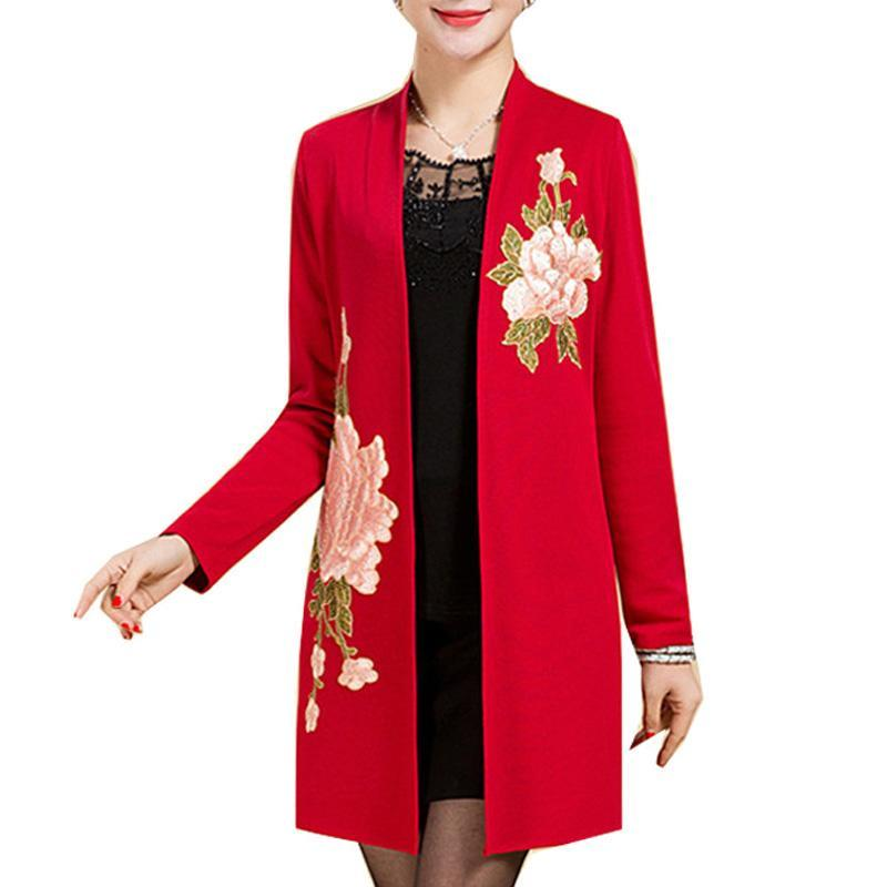 New spring autumn Middle age women cardigan jacket fashion Mother embroidery flowers Elegant shawl outwear plus size 5XL ZY1339
