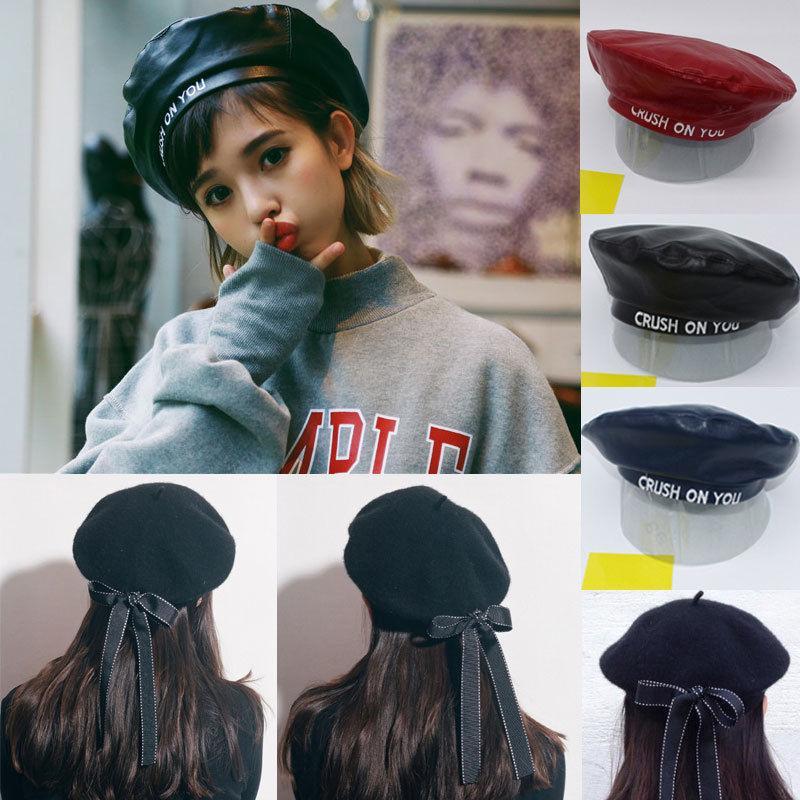 Compre Sombrero De Boina Vasco Con Boquilla Vasca De Lana De Harajuku De  Lana PU Harajuku Para Mujer A  39.62 Del Shukui  9e8ea2fe290