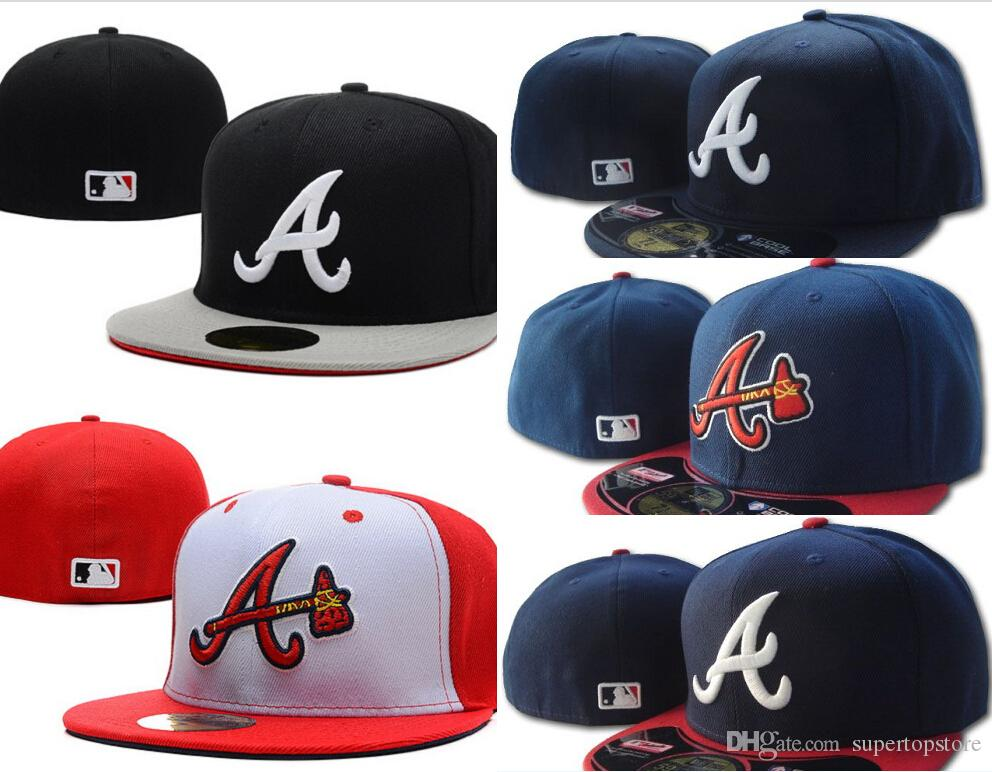 good sale hot products Wholesale Men s Braves Fitted Hats Flat Brim Hat Gorras Bones Masculino  Sport Summer Size Caps Chapeau Cheap Men s Womens Sports