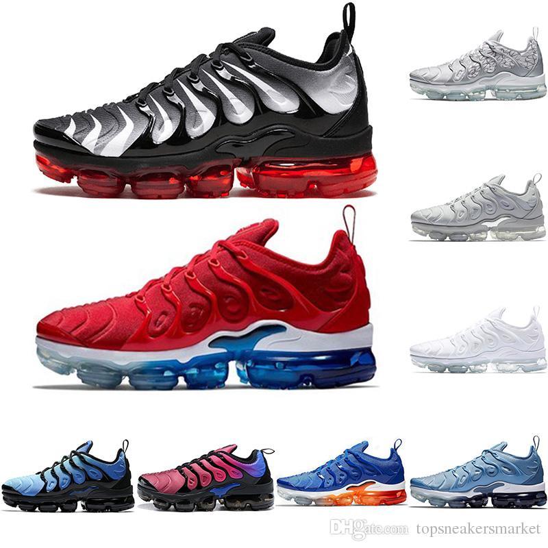 Nike Air Vapormax Plus Meilleur TN Plus Hommes Femmes Chaussures de course MOTIFS D ARGENT Multi Couleur Noir Rouge Mens Designer Trainer Sport