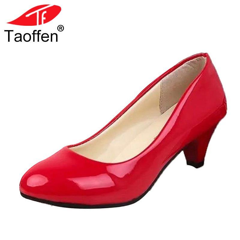 b7e5ba9407 Compre Designer De Vestido De Sapatos TAOFFEN Tamanho 35 42 Mulher De Salto  Alto Moda Sexy Mulheres Bombas De Primavera Escritório Trabalho Clássicos  ...