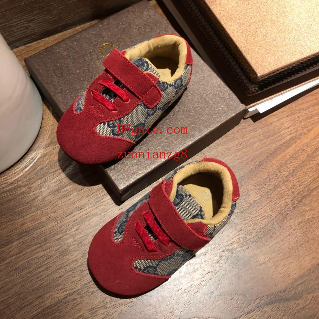 kids shoes Soft bottom Lace-up kids sneakers Stitching fabric Simple print Moccasins walker shoes baby high quality toddler shoes ad-2