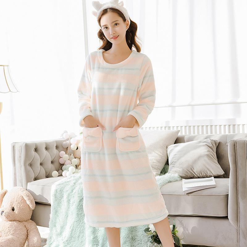 bad6b2d9973 2019 Womens Flannel Pajamas Sleepwear 2019 Autumn Winter Plus Size Nightwear  Sexy Home Suit White Nightdress Sweet Sleeping Warm From Stylenew