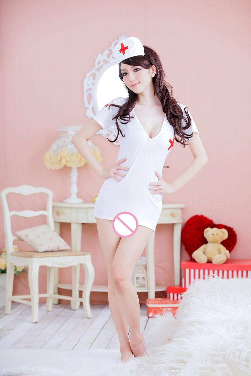 Sexy Costumes Sexy Lingerie Women Backless Nurse Suit Sexy Underwear Dress + Hat Set sex products Exotic Apparel sleepwear