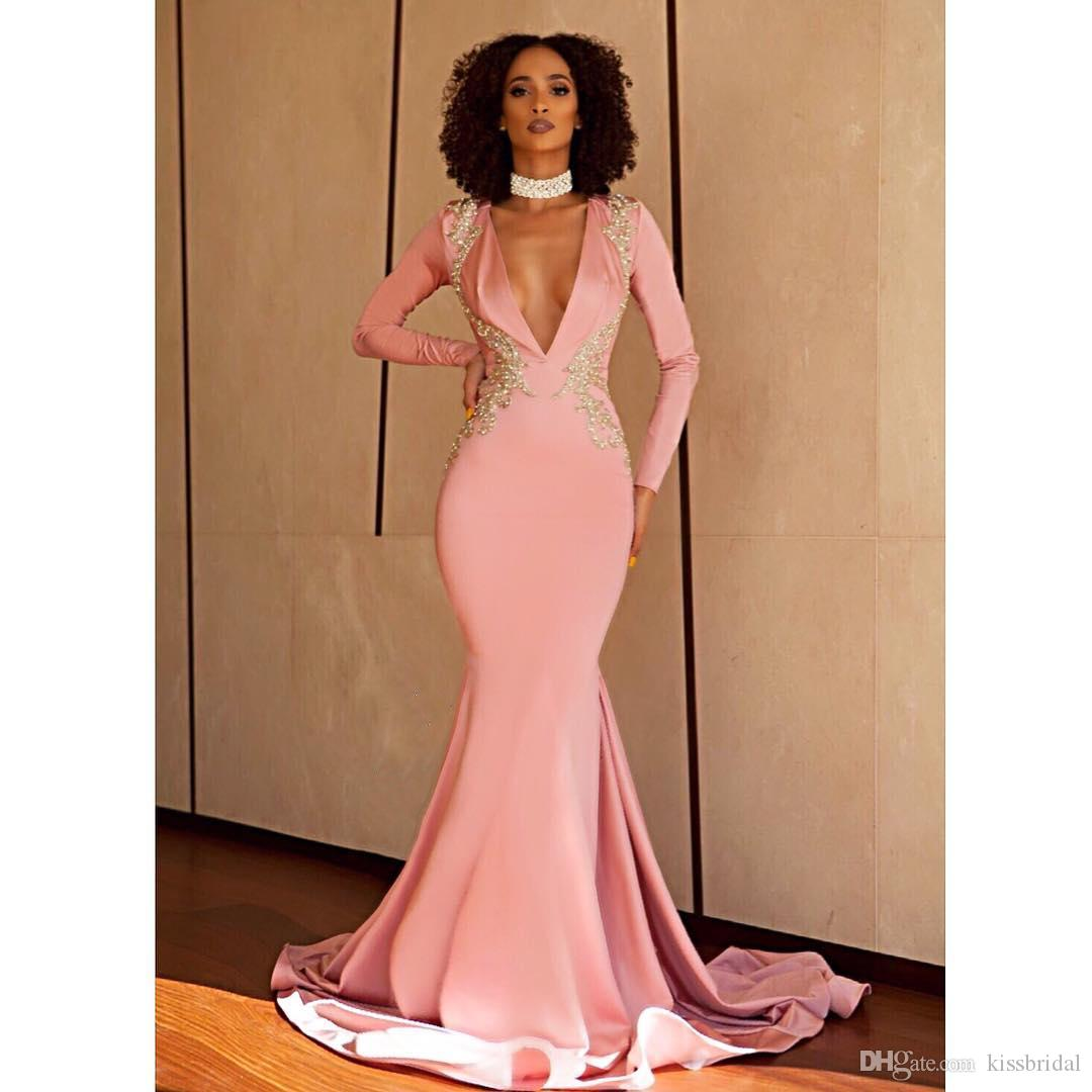 14823b826bf Pink Prom Dresses 2019 Sexy Mermaid V Neck Long Sleeve Formal Evening Gowns  Open Back Bead Cocktail Party Dress Celebrity Red Carpet Gown Gothic Prom  Dress ...