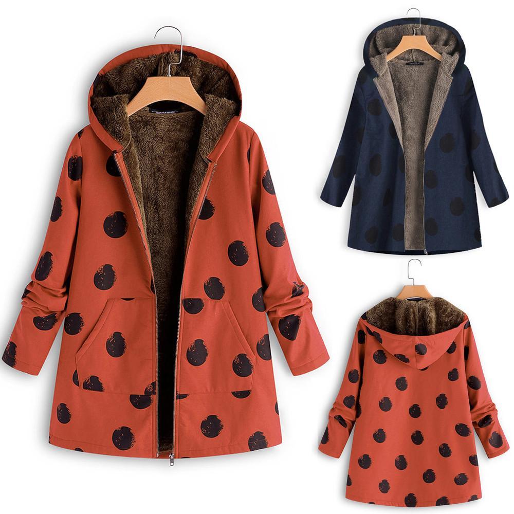523a91fa1 Hot Sale Winter Plus Size M-5XL Womens Warm Outwear Dot Print Hooded  Pockets Vintage Oversize Coats New Fashion fox fur coat