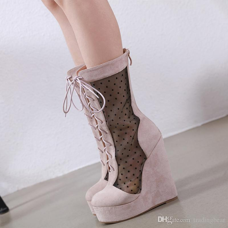 15cm luxury women designer shoes breathable meshy lace up platform wedge high heels ankle bootie size 35 to 40