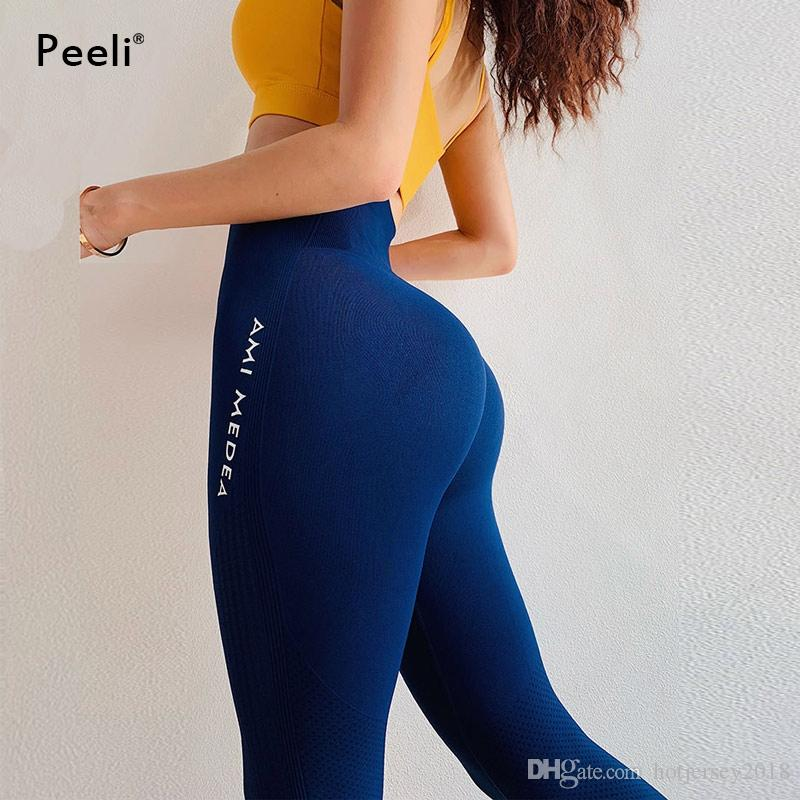 708e487c23 2019 Peeli Tummy Control Yoga Pants Women Seamless Leggings Fitness Gym  Tights Push Up Sports Leggings High Waist Workout Sportswear #212006 From  ...