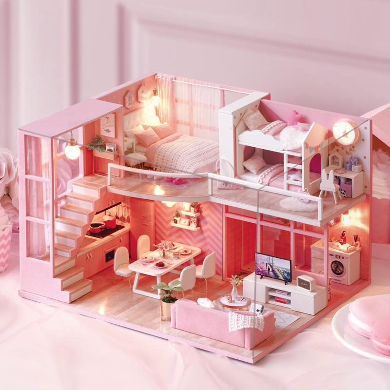 Diy Puppenhaus Möbel Traum Engel Miniatur Puppenhaus Spielzeug Für Kinder Sylvanian Familien Haus Casinha De Boneca Lol Haus