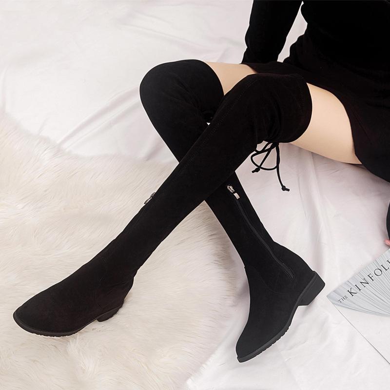 9c77f9ba7 Compre Botas Altas Y Largas De Gamuza De Niña Sobre Rodilla Y Muslo Alto  Bottes Mujer Nueva Altura Que Aumenta Las Botas Forradas De Piel De Felpa  Zapato De ...