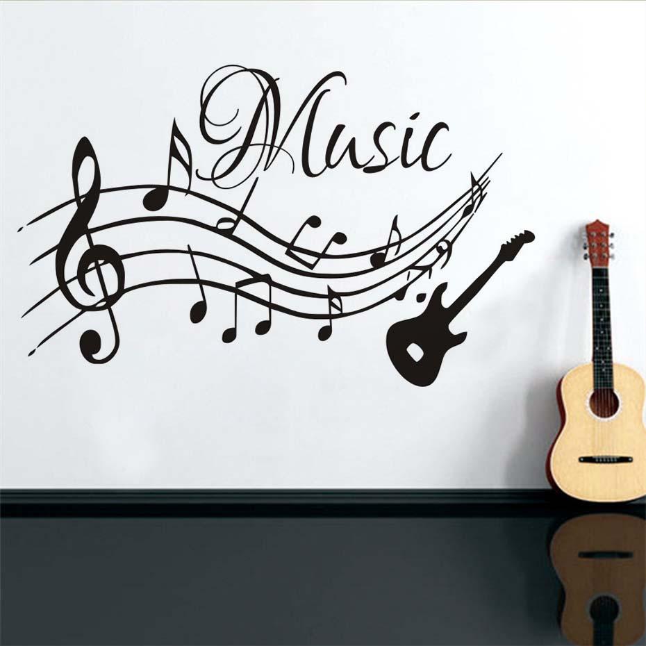 Yüksek Kaliteli Müzikal Notlar Müzik Gitar Vinil Duvar Çıkartmaları Oturma Odası Çıkartmaları Kreş Ev Dekorasyonu Çıkarılabilir Duvar Kağıdı Sanat Resimleri