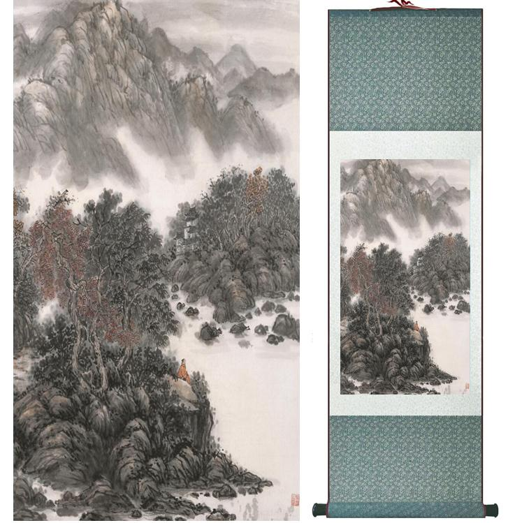 Landschaftsmalerei Home Office Dekoration Chinese Scroll Painting Berg- und Flussmalereiprinted Painting042202