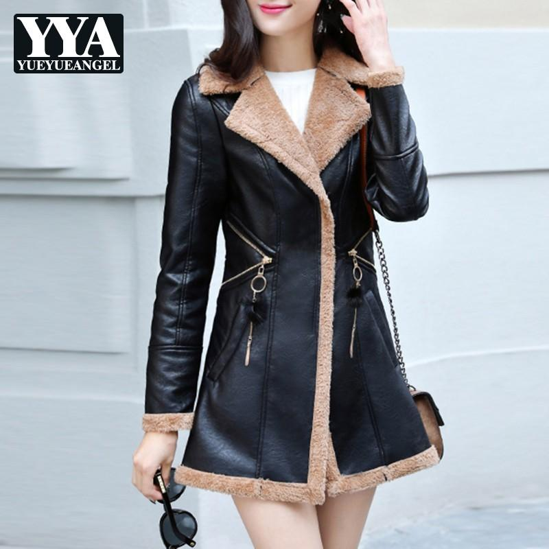 6ab93a56bad 2019 Fashion Korean Slim Fit PU Leather Jacket Womens Winter Autumn Thick  Warm Fur Lining Casual Ladies Long Faux Leather Jacket Coat From Glorying,  ...