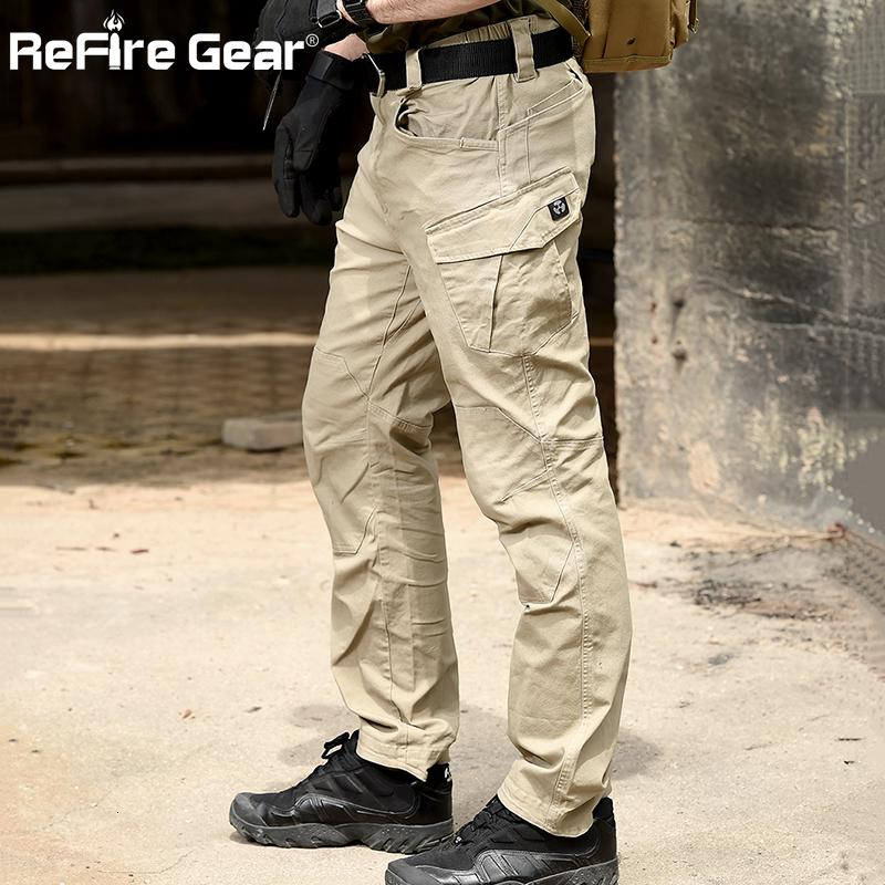 ReFire Gear SWAT Combat Military Tactical Pants Men Large Multi Pocket Army Cargo Pants Casual Cotton Security Bodyguard Trouser LY191205