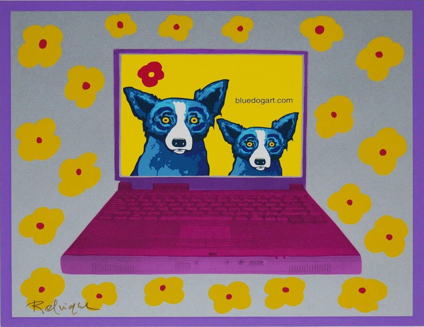 George Blue Dog Rodrigue Bluedogart Com Flores Amarelas Home Decor pintado à mão HD Imprimir pintura a óleo sobre tela Wall Art Pictures 200116