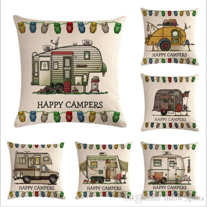 Retro RV Series Flax Pillow Cover and Cushion Cover 45*45cm cotton and linen printed pillow covers Pillow sleeve for automobile modeling