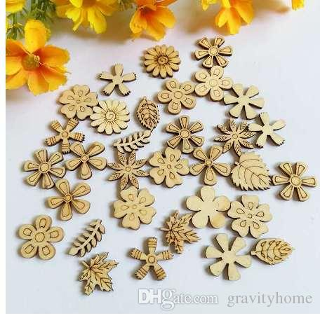100pcs/lot Wood Chips mix Flower For Kids Handcrafts Scrapbooking Decor DIY Wood Craft Embellishment Supplies Making