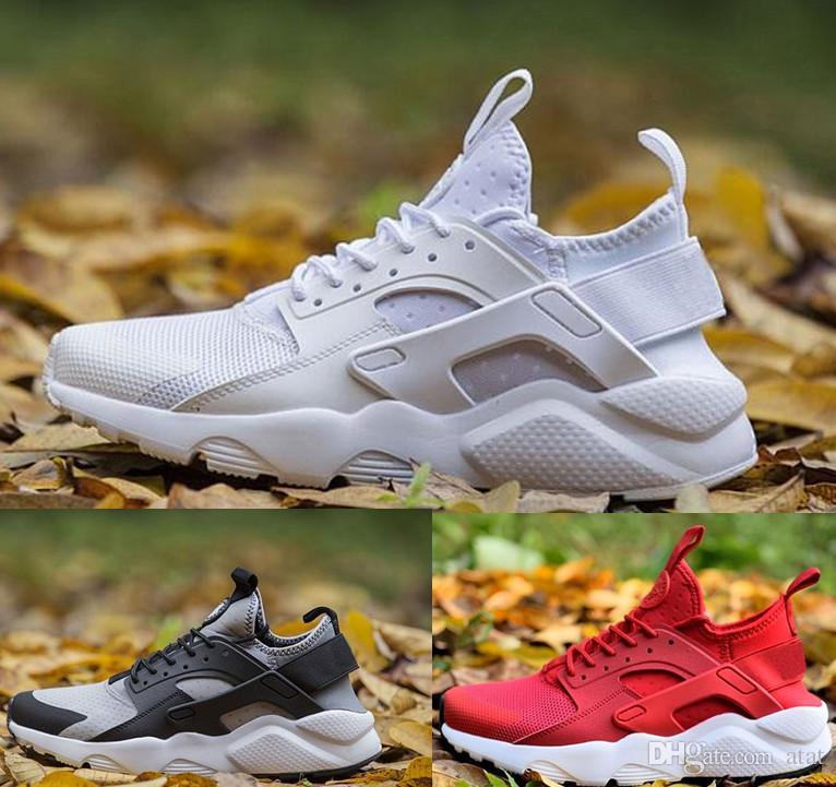 closer at new cheap recognized brands 2018 Air Huarache 4 Men Women Running Shoes All White Huraches 3 ...