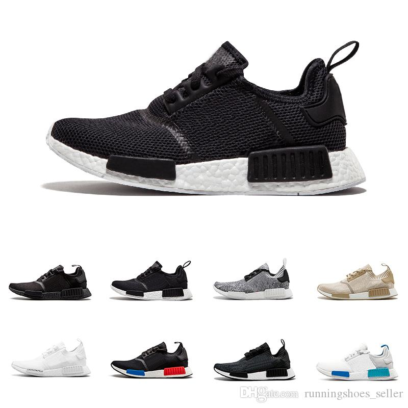 reputable site 11375 c46e3 2019 New NMD R1 Primeknit Running Shoes For Men Women Wholesale NBHD Triple  black White Oreo Camo Nmds Runner Sport Sneakers Eur 36-45