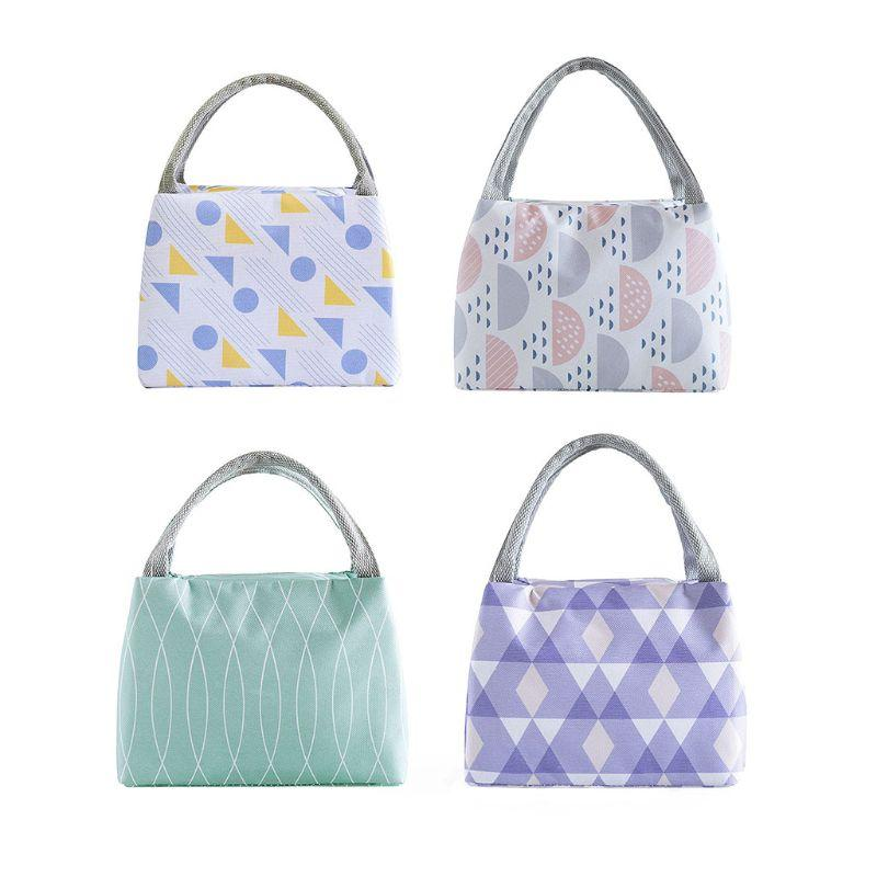 1Pc Insulated Lunch Bag for Women Men Thermal Cooler Tote Picnic Storage  Box Oxford Cloth Pearl Cotton Lining