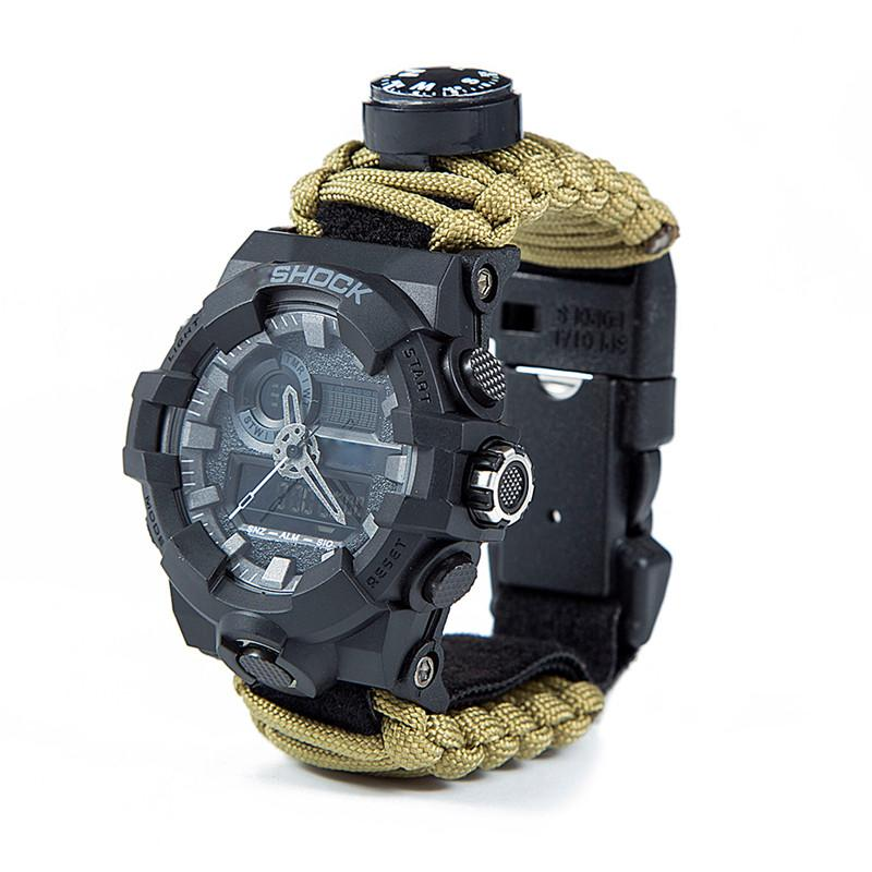 Outdoor Survival Paracord Watch Camping Multi-functional Survival Watch Compass Thermometer Rescue Rope Tactical Paracord Tools (3)