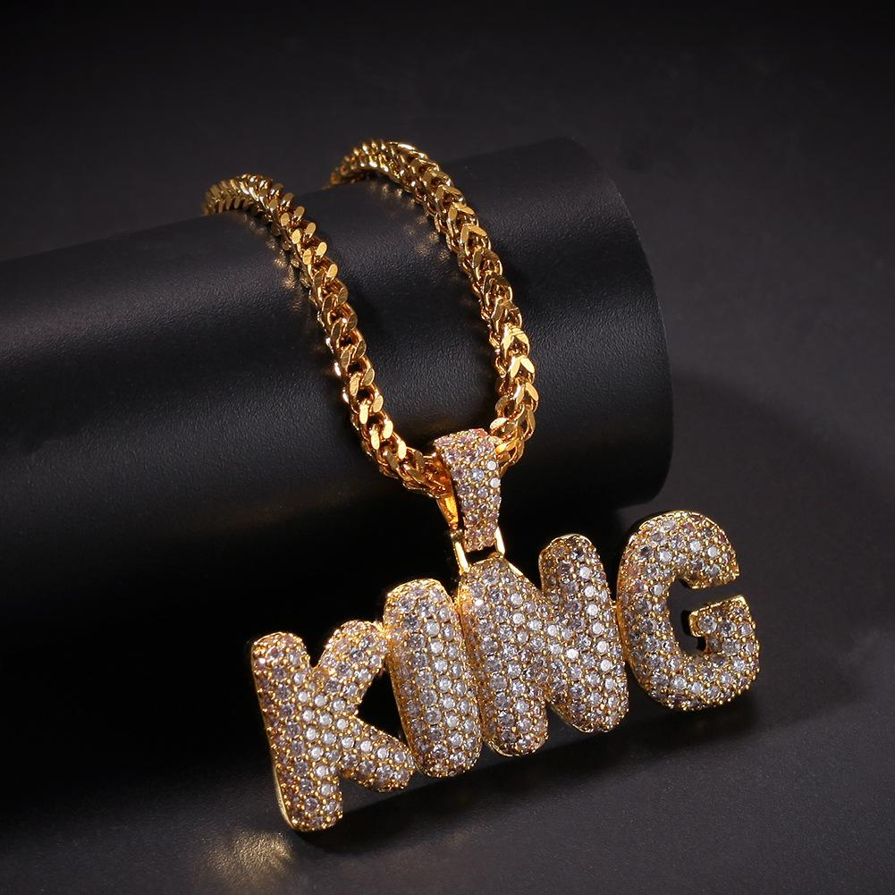 Luxury Designer 18K Gold Hip Hop Bling Bling Diamond Bubble Letters King Pendant Necklace Chain for Men Cubic Zirconia Bijoux Mens Jewelry