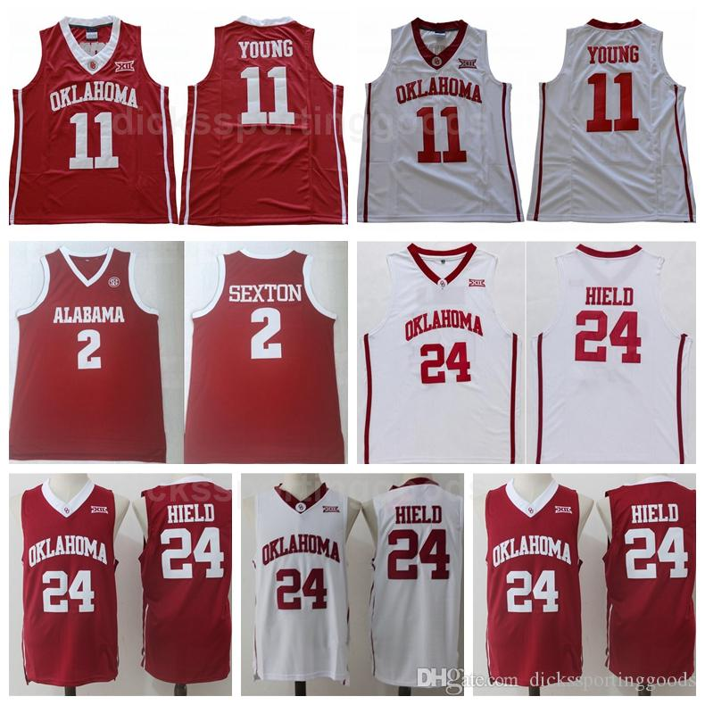 fde411510dd 2019 NCAA College Oklahoma Sooners 11 Trae Young Jersey Men 2 Collin Sexton  24 Buddy Heild Jerseys Basketball Red White Uniform University From ...