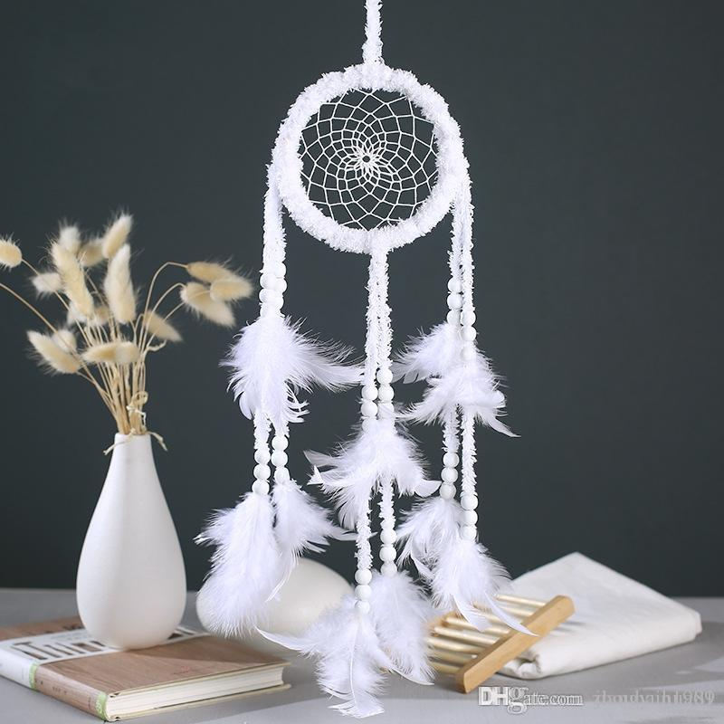 White Feather Dream Catcher Net Wind Chime Handmade Dreamcatcher Craft Wall Hanging Decoration Home Garden Decor DHL Free Shipping