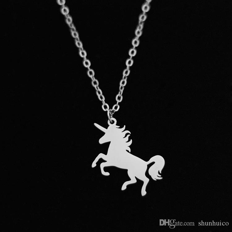 Unicorn Stainless stell Collana Accessori per gioielli Mermaid Lion Animal Necklace for Party