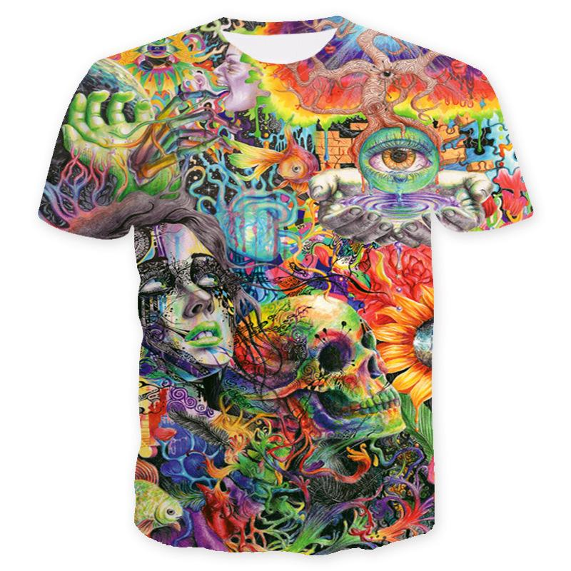 New Summer T Shirt for Men with Clown Fashion Mens Designer T Shirts Lovers Skull 3D Short-sleeved Tops Tees Clothing S-3XL