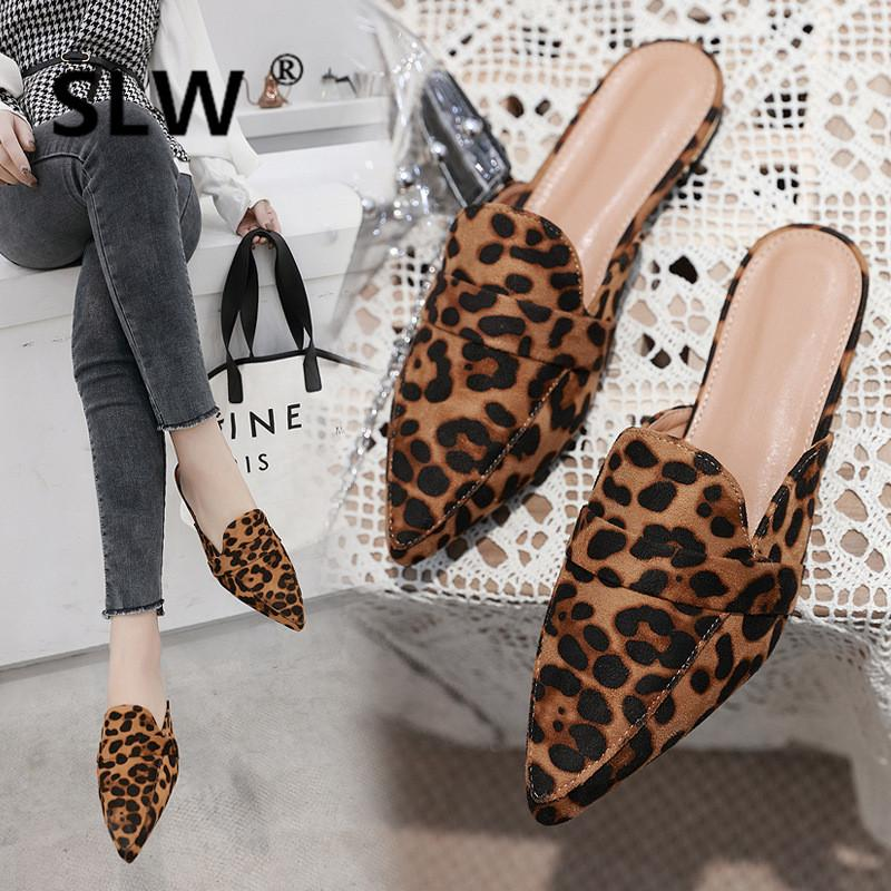 230658ab6812 Leopard Flock Flat Heel Mules Women Fashion Pointed Toe Slides New Spring  Brand Casual Slippers Woman Plus Size Dress Slides Birkenstock Cowboy Boots  From ...