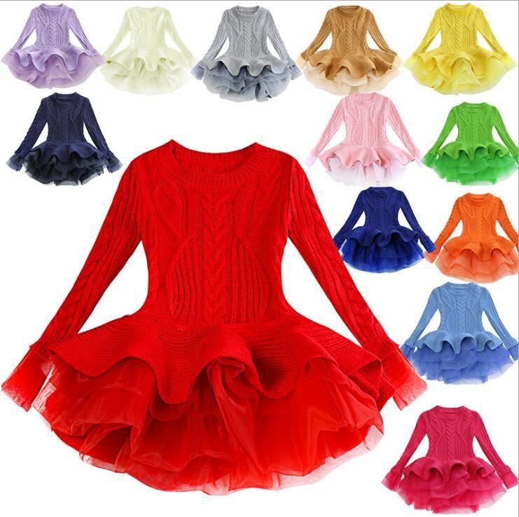 f6a222c8a Compre Vestido De Invierno Para Niña 2019 Moda Primavera Otoño Princesa Niña  Suéter De Manga Larga Vestido TuTu Niños Vestidos De Navidad Para Niña A  $15.88 ...