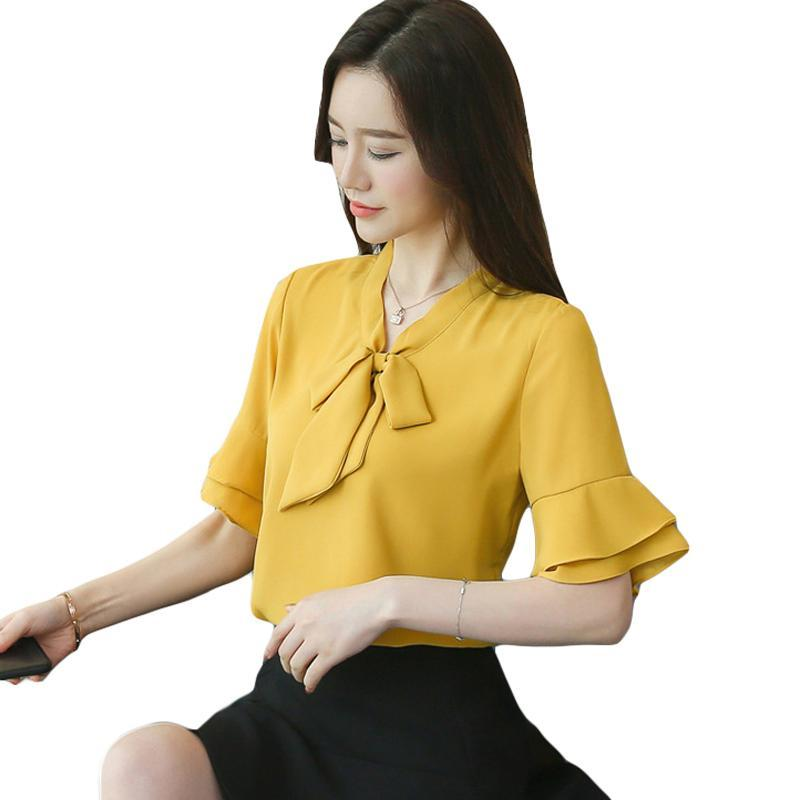 166505c7e3243a 2019 Women Summer Blouses Fashion Bow Tie Shirt White Blouse Flared Short Sleeve  Tops Loose Casual Female Clothing From Dajie1xing, $14.07   DHgate.Com