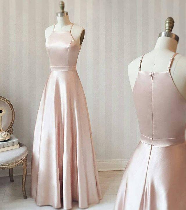 462f7478988e Simple Design 2019 Baby Pink Bridesmaid Dresses Halter Neck Satin Flooor  Length Maid Of Honor Wedding Guest Gown Cheap Brides Maid Dresses Burgundy  ...