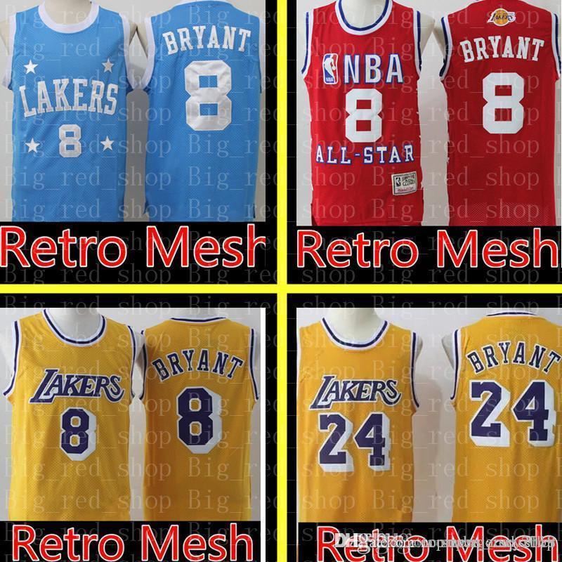 check out c3b1d 6e48e 8 Kobe 24 Bryant Laker Jersey Retro Mesh Los Angeles Laker Basketball  Jerseys high school 33 Kobe 32 Johnson Embroidery Logos