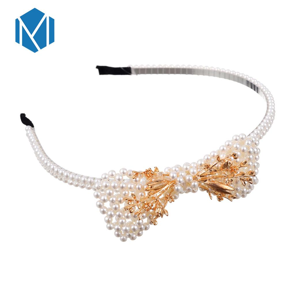 MISM 2019 New Arrival Headband Korean Style Girls Hair Hoop Big Pearls Bows Hair Bands for Women Hairpin haarbanden voor meisjes