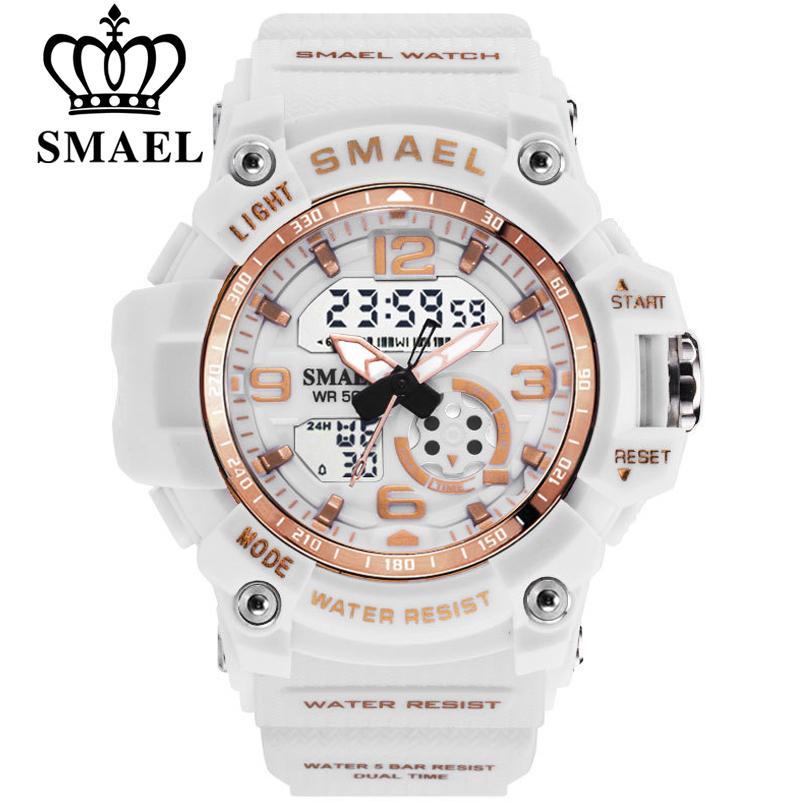 8a1e2e4804b6 Compre Smael Moda Mujeres Relojes Deportivos Impermeable Señoras Estudiante  Reloj Multifuncional Led Cuarzo Digital Reloj Blanco Reloj De La Muchacha A  ...
