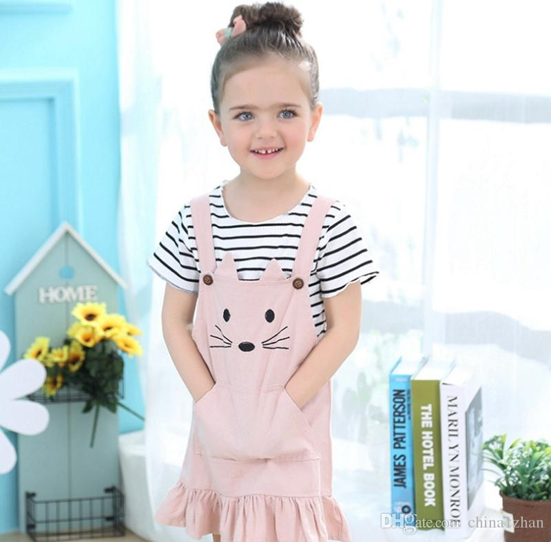 15bf7efdc 2019 Baby Girls Clothes Cat Design Dress Striped Shirt Sets Short Sleeve T  Shirt Cat Vest Dress Suits Ruffled Skirt Kids Clothing DHW1920 From  China1zhan, ...