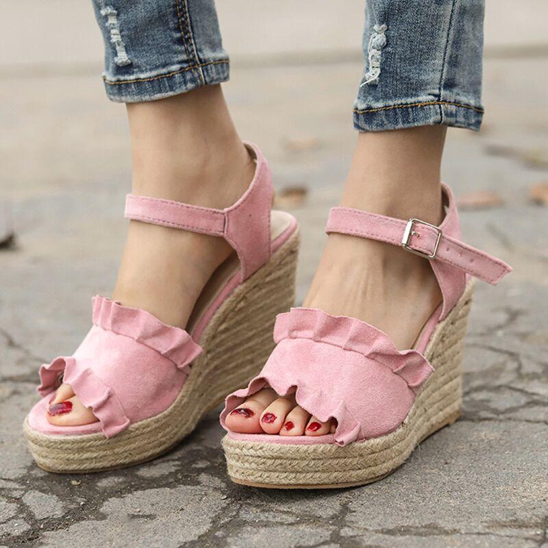 ec395a65562489 Acheter Été Femmes Sandales Confort Femmes Chaussures Sandales Compensées  Talons De Paille Chaussures Dames Femme Sandalie Plateforme Plus La Taille  43 De ...
