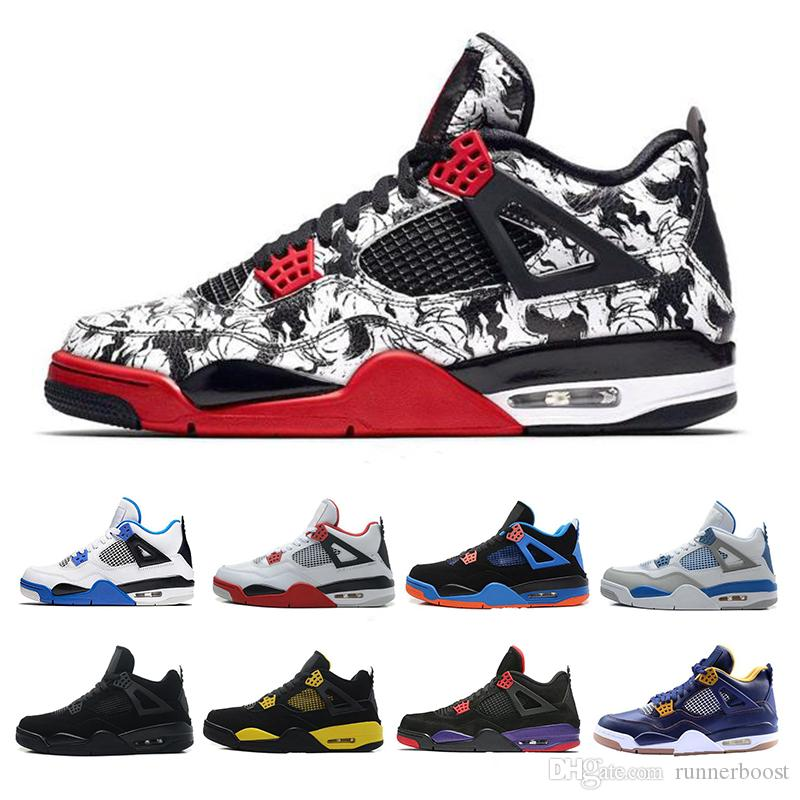 a8e6add3175 4 4s Basketball Shoes Mens Pure Money Royalty White Cement Raptors Black  Cat Bred Fire Red Trainers Sports Sneakers Size 40 47 Mens Loafers Designer  Shoes ...