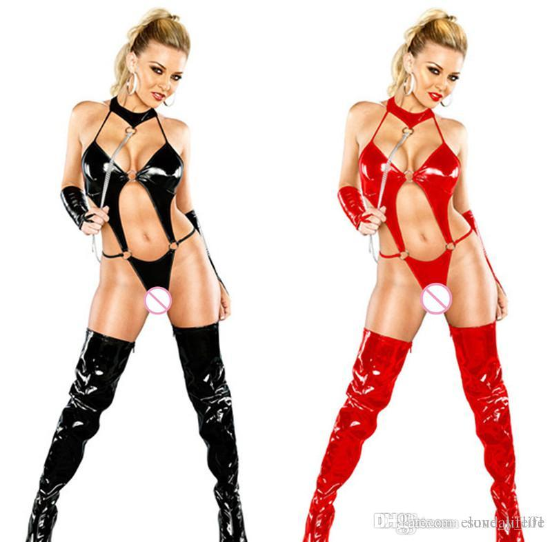 33b484f5509 !!!Black Red Women Clubwear Nightwear Latex Leather Lingerie Costumes PVC Sexy  Underwear Three Point Bodysuit Teddies Catsuits Lace Bras And Panties ...