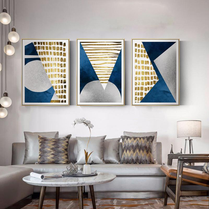 Modern Abstract Blue Gold Moon Painting Geometry Mountain Canvas Poster Art Wall Picture for Living Room Unframed