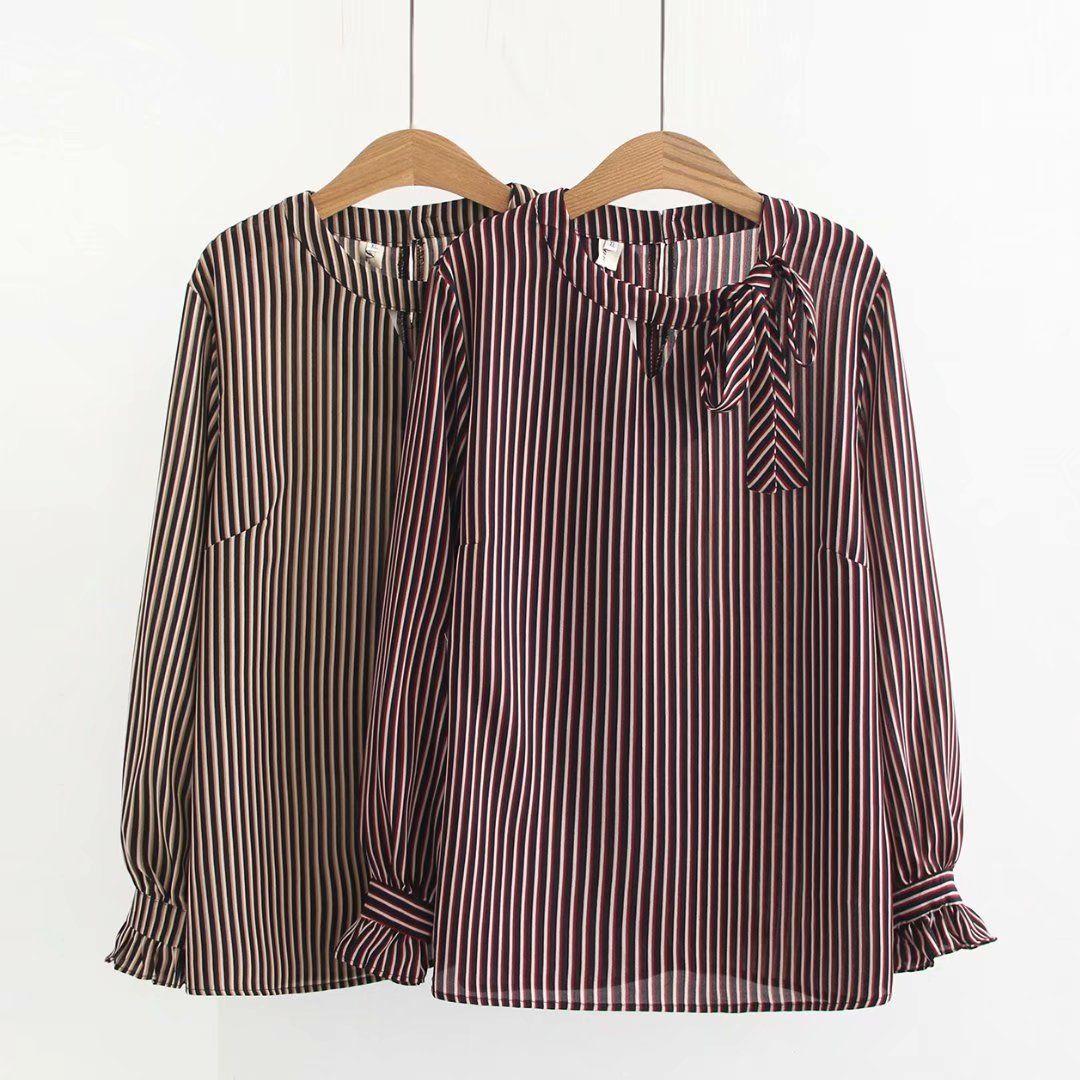 e70d9fa35b Plus Size Fashion Women Blouse Long Sleeve Vertical Stripes Loose ...