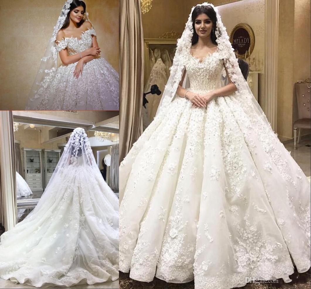 Arabic Dubai 2019 Beaded Lace Ball Gown Wedding Dresses 3D Floral Appliques Off  Shoulder Bridal Dress Chapel Train Wedding Gowns Custom Made Vintage Style  ... 95484a9a33d7