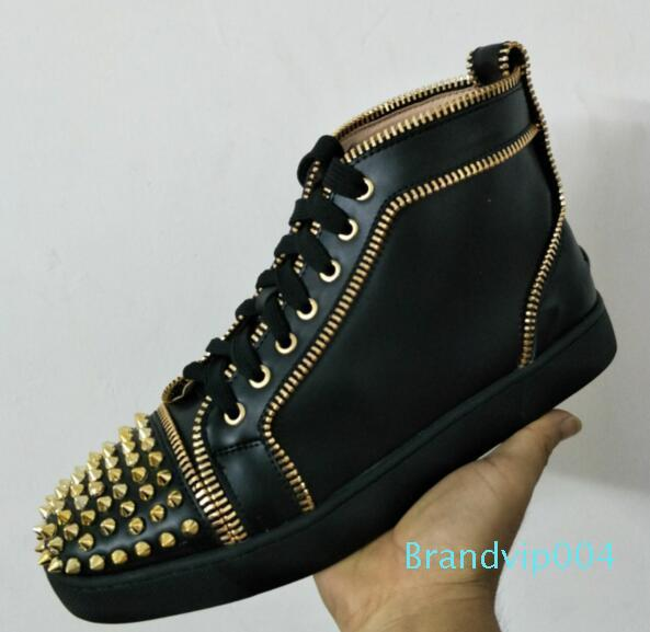 2019 New Designer Shoes Man Casual Woman Sneaker Fashion High Top Crystal Rivets Red Gold Silver Chaussure Drop Shipping Size 35-47