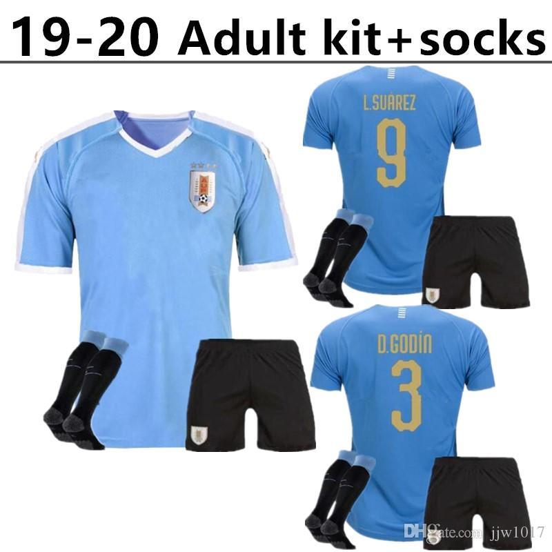 superior quality 567a4 3ed56 Adult kit +socks 2019 Copa America Uruguay Soccer Jersey 19/20 Home 9  L.suarez 21 E.cavani #3 D.GODIN Away National Team Football Uniforms