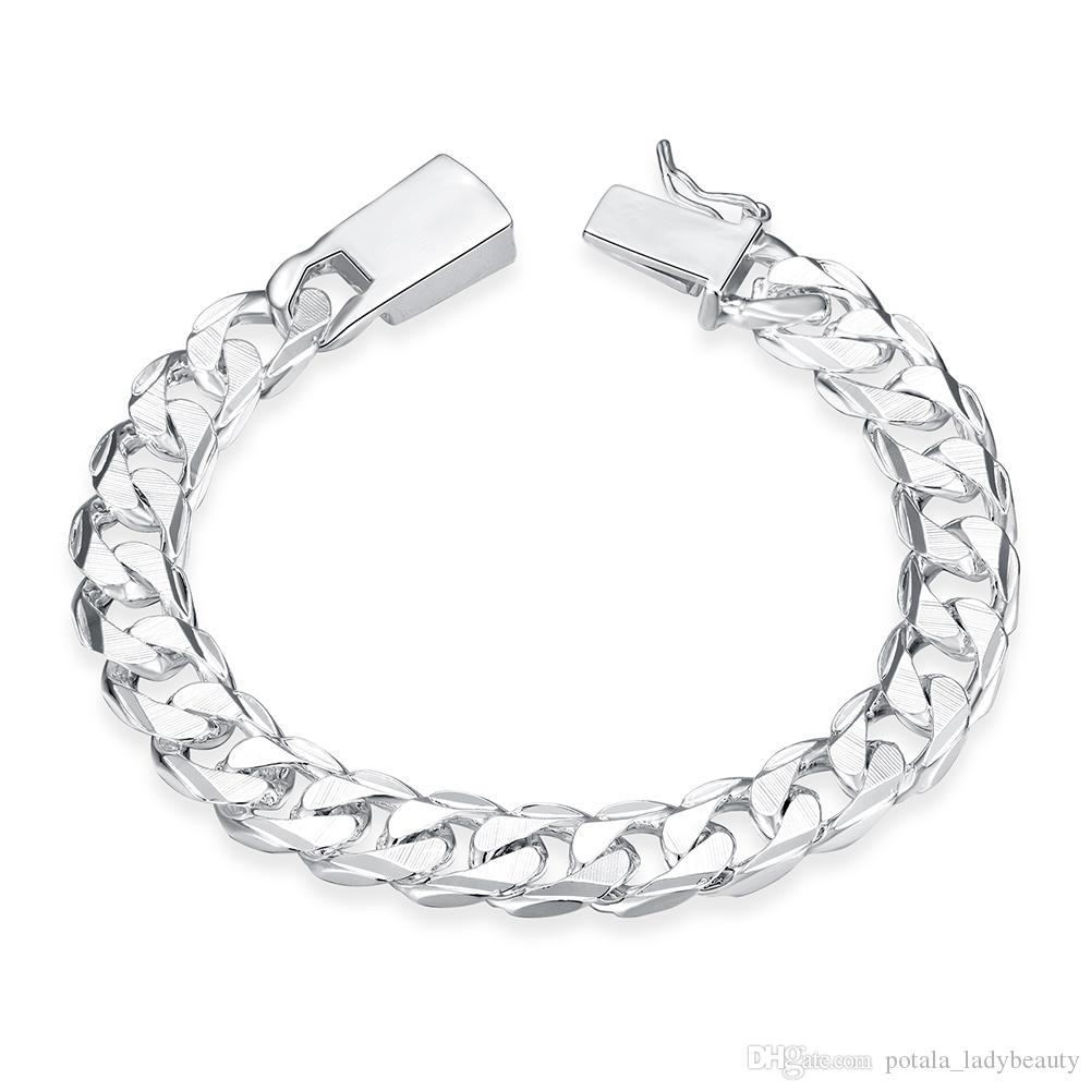 ecb44cca4 2019 Romantic Bracelets Link Chain Silver Plated Square Buckle Side Texture  Bangles 925 Silver Jewelry Bracele For Unisex Charming Gift POTALA032 From  ...